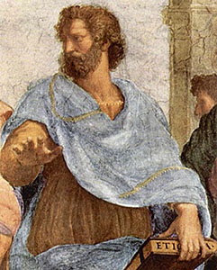 Raffaello Sanzio, The School of Athens, 1509-1510, detail showing the figure of Aristotle (Musei Vaticani, Stanza della Segnatura, Citt� del Vaticano)