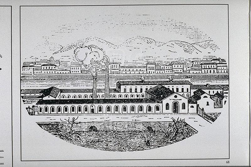 Illustrazione dei primi stabilimenti dellla Fonderia del Pignone, Firenze.