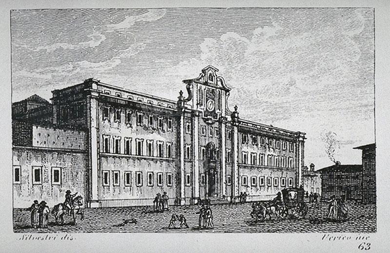 """Engraving showing the façade of the National Boarding School """"Francesco Cicognini"""" in Prato, F. Fontani, """"Viaggio pittorico della Toscana"""", Florence, V. Batelli, 1827 (3rd ed.)."""