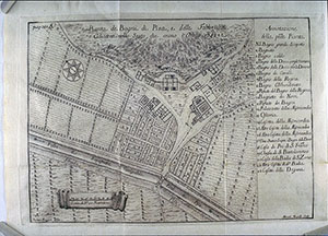 Map from 1742 showing the thermal stations of Pisa.