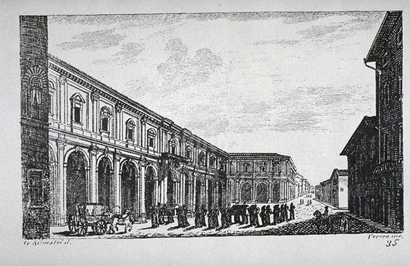 "Engraving depicting the Hospital of Santa Maria Nuova in Florence,  F. Fontani, ""Viaggio pittorico della Toscana"", Florence, V. Batelli, 1827 (3rd ed.)."