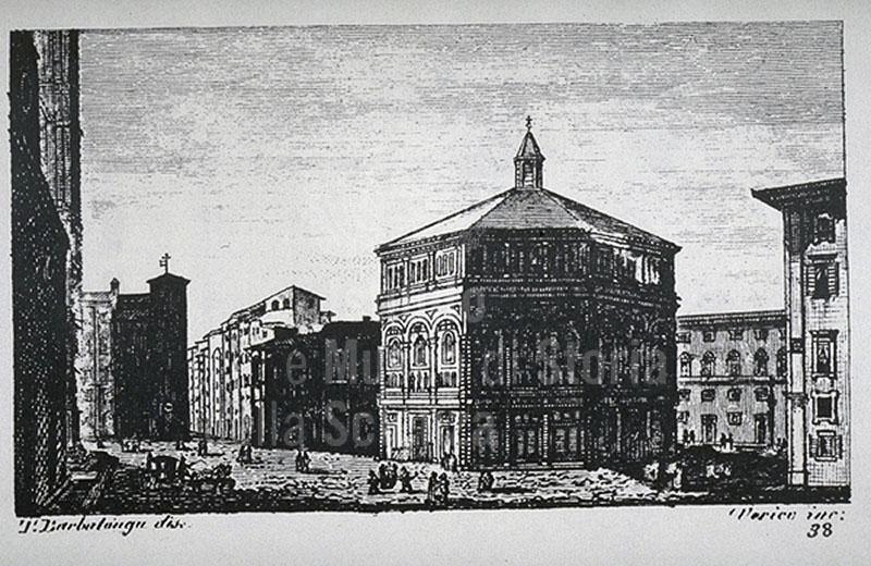 """Incisione raffigurante il Battistero di San Giovanni a Firenze, F. Fontani, """"Viaggio pittorico della Toscana"""", Firenze, per V. Batelli, 1827 (3 ed.)."""