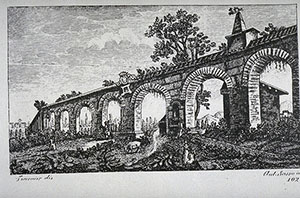 "Engraving depicting the Aqueducts of Pisa, F. Fontani, ""Viaggio pittorico della Toscana"", Firenze, per V. Batelli, 1827 (3 ed.)."