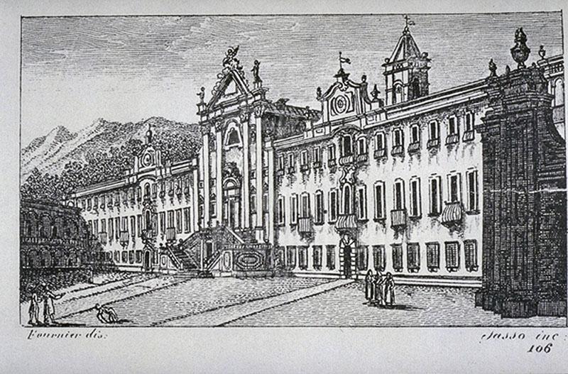 "Engraving of the Carthusian Monastery of Calci, F. Fontani, ""Viaggio pittorico della Toscana"", Florence, V. Batelli, 1827 (3rd ed.)."