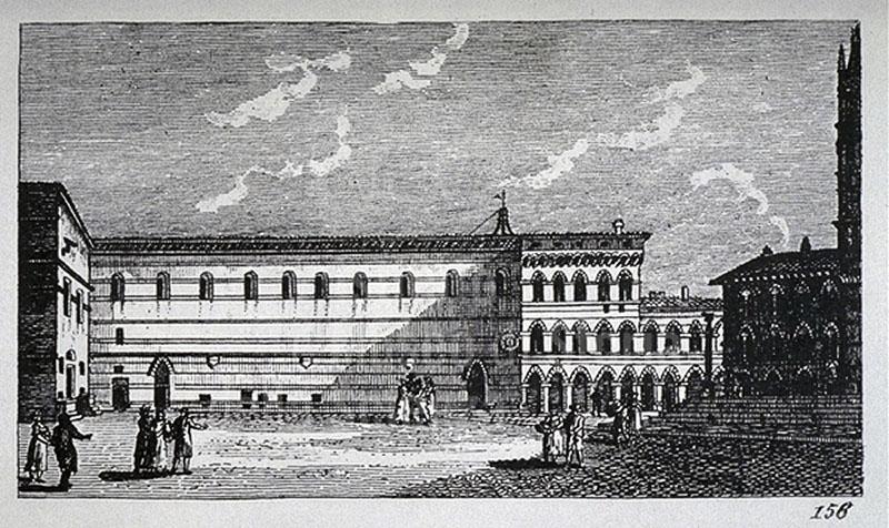 """Incisione raffigurante una veduta dello Spedale di Santa Maria della Scala, F. Fontani, """"Viaggio pittorico della Toscana"""", Firenze, per V. Batelli, 1827 (3 ed.)."""