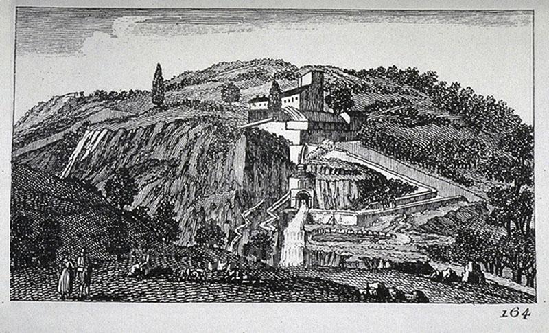 """Incisione raffigurante Bagni di San Filippo, F. Fontani, """"Viaggio pittorico della Toscana"""", Firenze, per V. Batelli, 1827 (3 ed.)."""