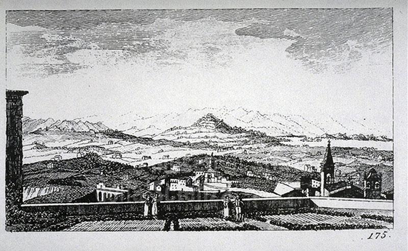 """Incisione raffigurante una veduta della Val di Chiana, F. Fontani, """"Viaggio pittorico della Toscana"""", Firenze, per V. Batelli, 1827 (3 ed.)."""