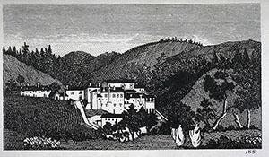 """Incisione raffigurante una veduta di Camaldoli, F. Fontani, """"Viaggio pittorico della Toscana"""", Firenze, per V. Batelli, 1827 (3 ed.)."""