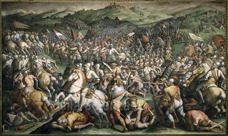 """Fresco by Giorgio Vasari and Jacopo Zucchi representing """"The Battle of  Scannagallo in Val di Chiana"""",  Palazzo Vecchio, Salone dei Cinquecento, Florence."""