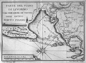 Corographic chart representing the port of Livorno and the ancient port of Pisa. Engraving by Ferdinando Morozzi and Gio. Canocchi, taken from G. Targioni Tozzetti, 'Relazioni d'alcuni viaggi fatti in diverse parti della Toscana' (1768-1779).