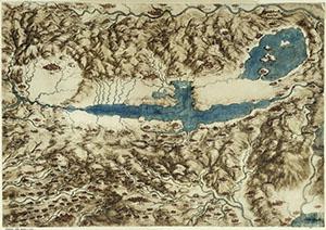 Leonardo da Vinci, map of Tuscany and Umbria, Royal Collection, Windsor 12278