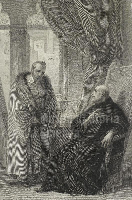 Galileo Galilei innanzi a Fra' Paolo Sarpi. Acquaforte di Carlo Raimondi, 1838 (da  Fiori d'arti e di lettere italiane per l'anno 1839, Milano, Bravetta, 1839).
