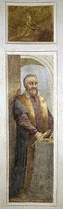 Ritratto di Galileo Galilei con toga accademica e cannocchiale. Affresco di Giacomo Ciesa, sec. XVIII (Padova, Museo la Specola, Osservatorio Astronomico, Sala delle Figure).