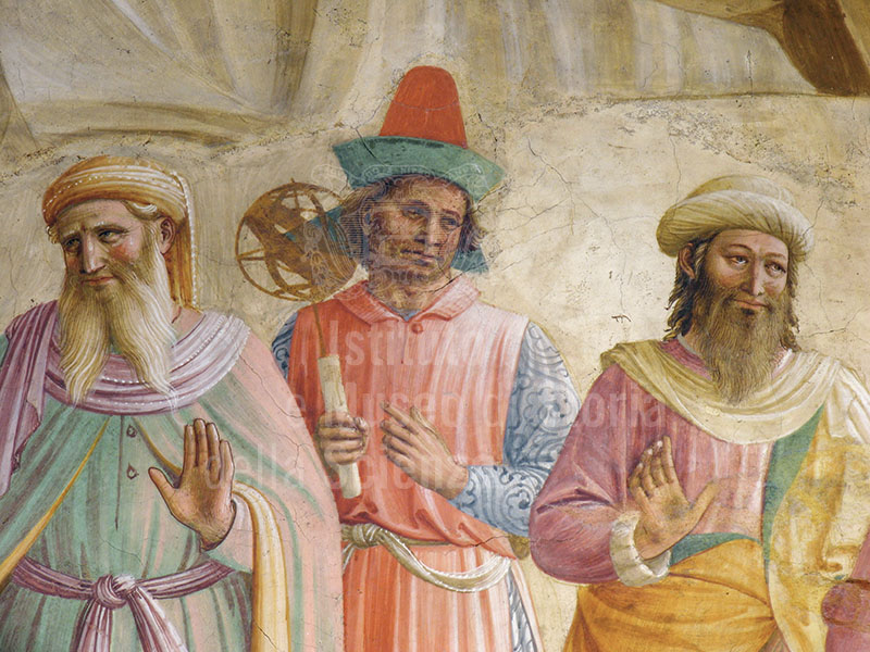 """Detail of the fresco by Fra Beato Angelico and Benozzo Gozzoli with the """"Adoration of the Magi and Christ as the Man of Sorrows"""" in the cell of Cosimo de' Medici (no. 39),  Museo di San Marco, Florence: personage with armillary sphere."""