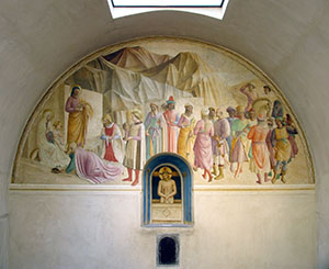 """Fresco by Fra Angelico and Benozzo Gozzoli  with the """"Adoration of the Magi and Christ the Man of Sorrows"""" in the cell of  Cosimo de' Medici (no. 39),  Museo di San Marco, Florence."""