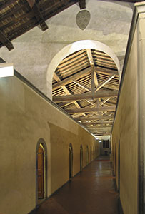 Left-hand corridor on the first floor of the Museo di San Marco in Florence.