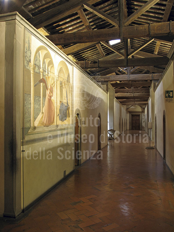 Right-hand corridor on the first floor of the Museo di San Marco in Florence, with the Annunciation by Fra Angelico.