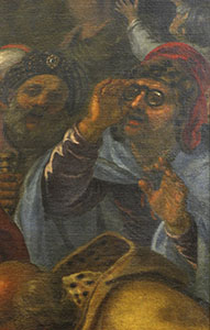 """Oil on canvas by Giovanni Bilivert representing the """"Miracle of St. Paul"""" (1644), formerly in the Serragli Chapel of the Basilica di San Marco and now displayed in the Museo di San Marco, Florence: detail of person wearing glasses."""
