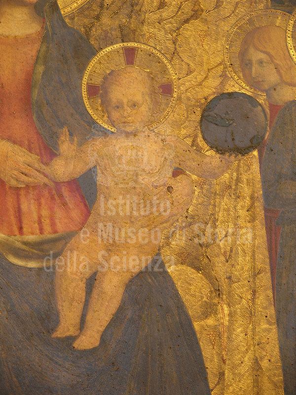 Fra Angelico,  San Marco Altarpiece (1438-1443), detail of the Child Jesus with a globe, Museo di San Marco, Florence.