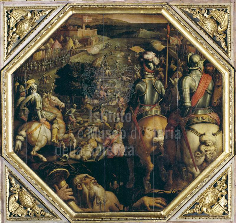 """Painting by Giorgio Vasari and Giovanni Stradano.representing the """"Battle of Marciano in Val di Chiana"""", Palazzo Vecchio, Salone dei Cinquecento, Florence.."""