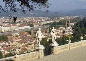 Veduta panoramica di Firenze dal Belvedere del Giardino di Palazzo Mozzi Bardini.