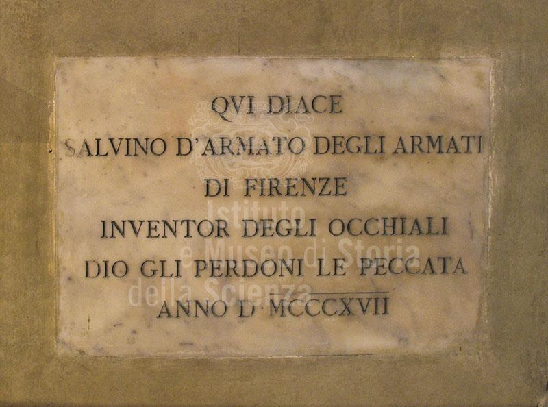 Epigraph on the tomb of Salvino d'Armato degli Armati, Chiesa di Santa Maria Maggiore, Florence.