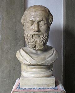 Erodoto. Busto con testa di età romana del II sec. d.C., copia di un originale greco, Chiesa di Santa Maria Maggiore, Firenze.