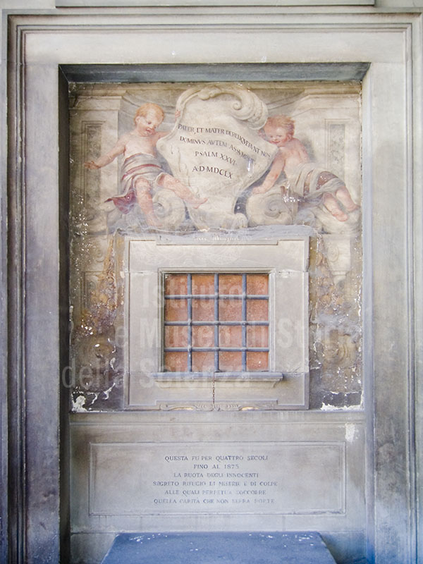 """Detail of the """"wheel"""" at the Hospital of the Innocent, Florence."""