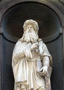 Statua di Leonardo da Vinci, Loggiato degli Uffizi, Firenze.