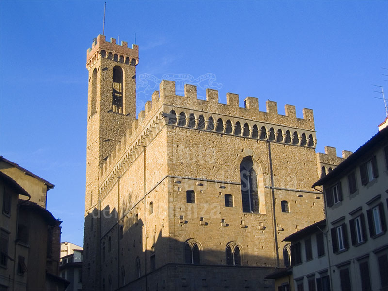 The tower and merlons on the Bargello,  Florence.