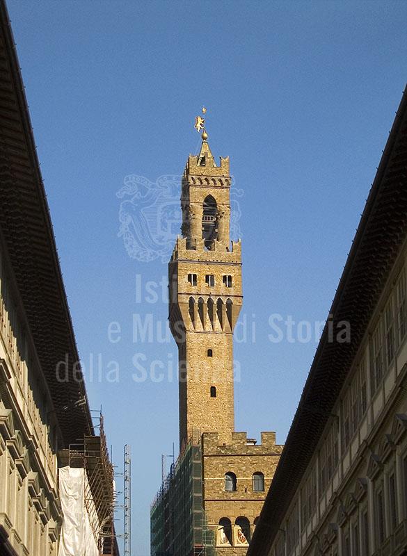 The tower of Palazzo Vecchio seen from the Loggiato degli Uffizi, Florence.