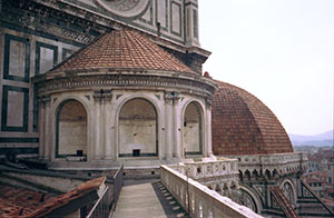 "One of the three ""dead tribunes"" added by Brunelleschi to counteract the horizontal thrusts on the Cupola di Santa Maria del Fiore, Florence."