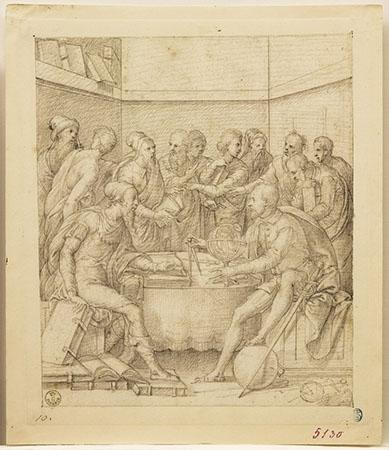 Camillo Agrippa conversa con Annibal Caro e altri sapienti