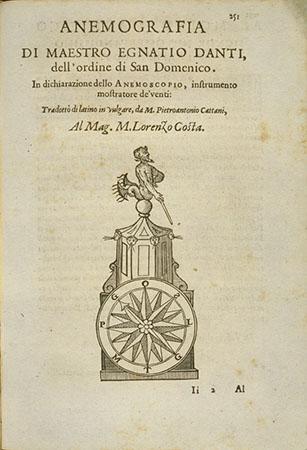 Egnazio Danti, Anemografia di maestro Egnatio Danti dell'ordine di San Domenico. In dichiarazione dello Anemoscopio, instrumento mostratore de' venti
