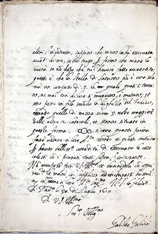 GALILEO GALILEI, Lettera a Belisario Vinta, 30 luglio 1610