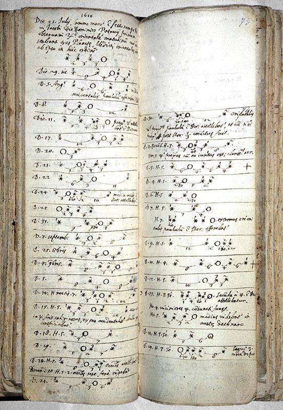 GALILEO GALILEI, Diari di osservazioni, ms., 1609-1610